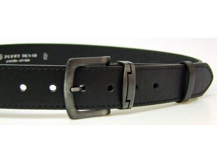 pánský černý kožený opasek český výrobek Kubát 60012- 1-4-40