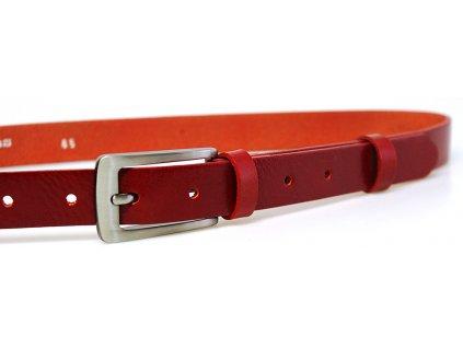 dámský červený kožený opasek český výrobek Kubát 60062- 176-93