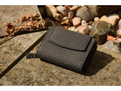 černá dámská kožená peněženka kroko 72112