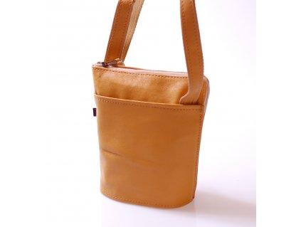 malá žlutá kožená kabelka český výrobek 14594