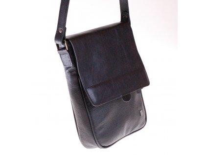 """černá kožená pánská brašna taška přes rameno na iPad 10"""" český výrobek Kubát 580114"""