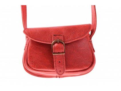 malá červená kožená kabelka dámská crossbody český výrobek Kubát 11262