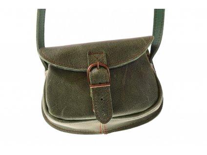 malá zelená kožená kabelka dámská crossbody český výrobek Kubát 11282