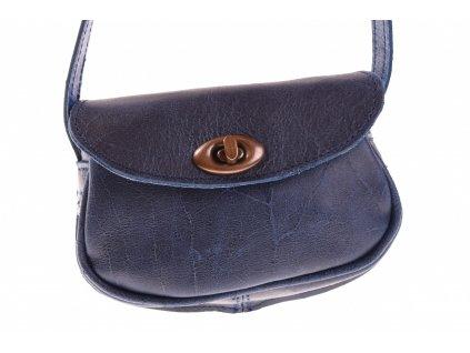 malá modrá kožená kabelka dámská crossbody český výrobek Kubát 112662