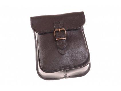 pánská černá kožená kapsa na opasek 30412