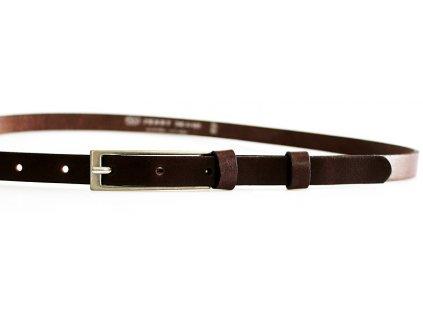 dámský hnědý kožený opasek český výrobek Kubát 60032- 15-1-04