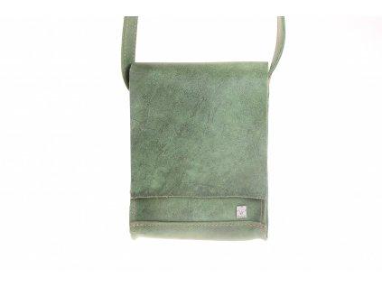 zelená kožená kabela mošnička přes rameno český výrobek Kubát 51782
