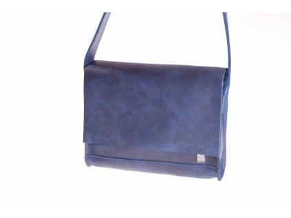 modrá kožená kabela mošnička přes rameno český výrobek Kubát 516662