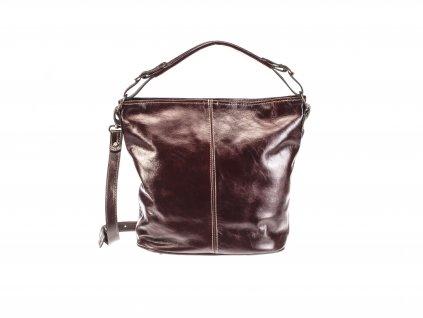 velká hnědá koňaková kožená kabelka dámská český výrobek Kubát 57542