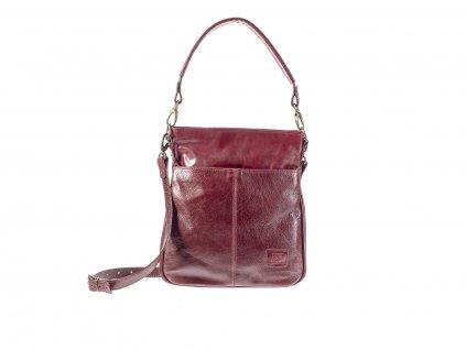 bordó elegantní kožená kabelka dámská český výrobek Kubát 57662