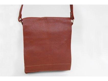 hnědá koňaková kožená pánská dámská taška přes rameno Helimann český výrobek Kubát 56444