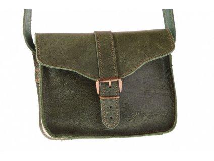 menší olivově zelená kožená kabelka dámská crossbody český výrobek Kubát 10782
