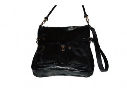 černá kožená kabelka dámská prostorná český výrobek Kubát 55214