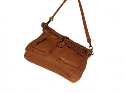 rezavohnědá kožená kabelka dámská prostorná český výrobek Kubát 55254