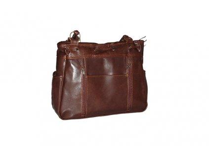 hnědá kožená kabelka dámská se dvěma popruhy český výrobek Kubát 55324