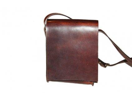 malá hnědá kožená taška kabela přes rameno Mošna český výrobek Kubát 19732