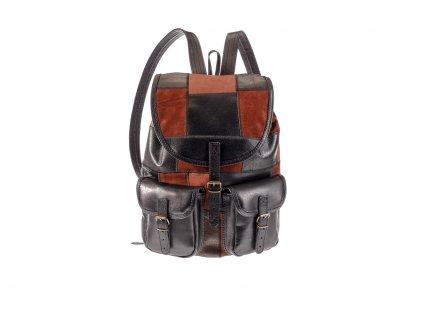 hnědý černý dámský pánský kožený batoh sešívané kousky kůže český výrobek Kubát 201471