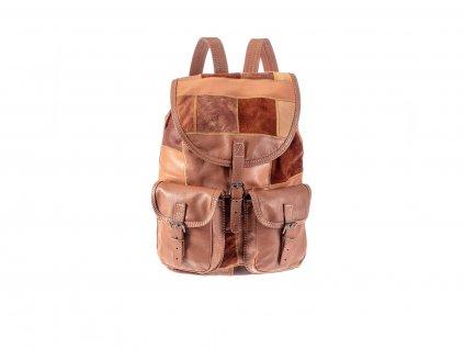 hnědý dámský pánský kožený batoh sešívané kousky kůže český výrobek Kubát 201571