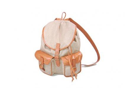béžový rezavohnědý dámský pánský kožený látkový batoh Lux český výrobek Kubát 201496