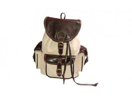 hnědý béžový kožený batoh unisex tři kapsy český výrobek Kubát Speciál 205391