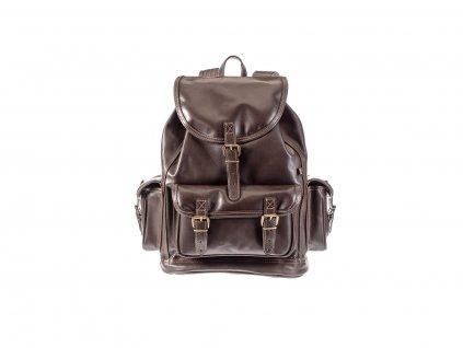 velký hnědý kožený batoh víceúčelový český výrobek Kubát 20421