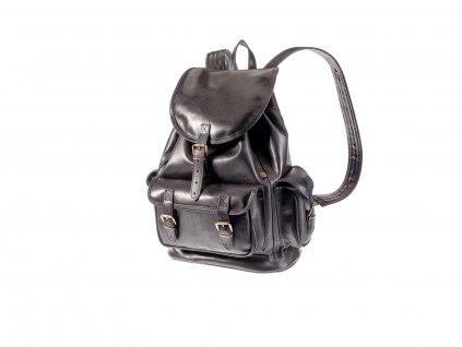 velký černý kožený batoh víceúčelový český výrobek Kubát 20411