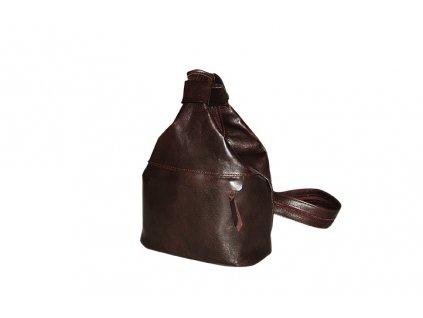 malý dámský hnědý kožený vak Gábina kabelka přes rameno český výrobek Kubát 20921