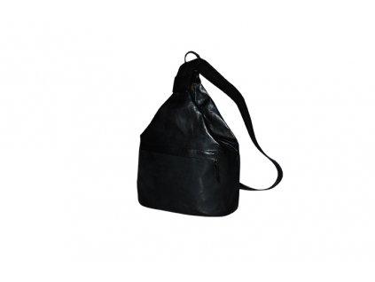 velký dámský černý kožený vak Gábina kabelka přes rameno český výrobek Kubát 21011