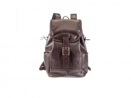 velký hnědý kožený batoh kapsy na lahev český výrobek Kubát 21224