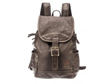 velký hnědý kožený batoh kapsy na lahev český výrobek Kubát 21234