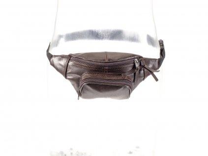hnědá kožená ledvinka z přírodní kůže český výrobek Kubát 31021