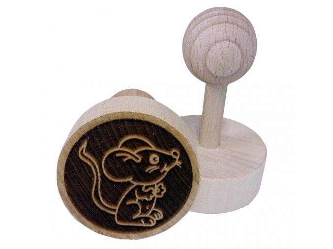 Dřevěné razítko na sušenky - myška