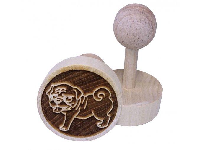 Dřevěné razítko na sušenky - mopsík