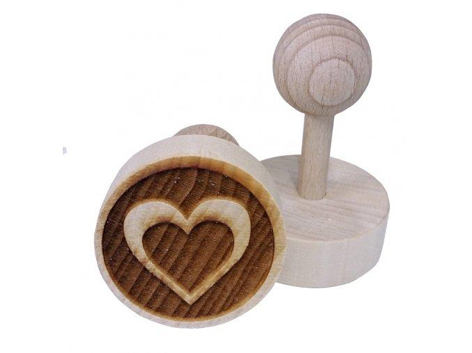 Dřevěné razítko na sušenky - srdce