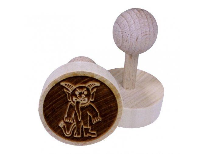 Dřevěné razítko na sušenky - čert