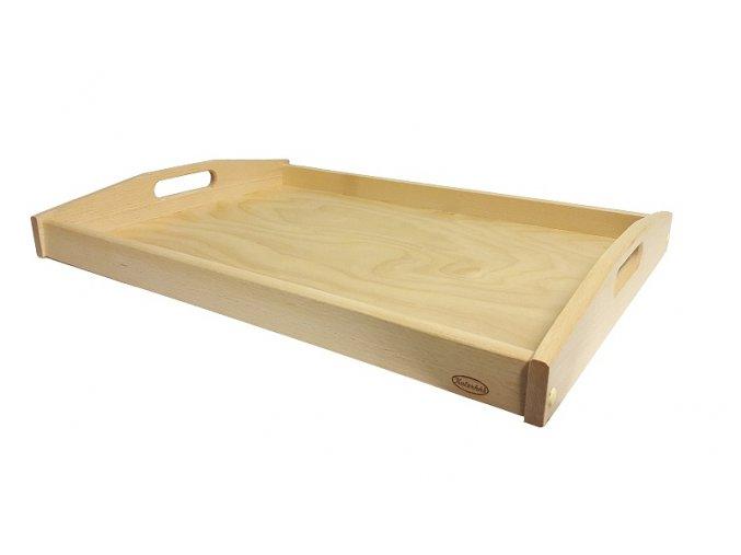 Podnos servírovací dřevěný velký 55,5 x 40 x 6,5 cm světlý