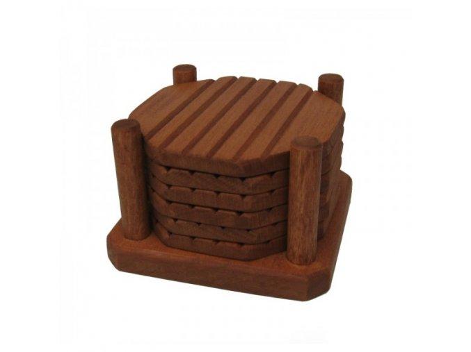 Dřevěný stojánek a 6 ks podtácků olše