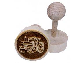 Dřevěné razítko na sušenky Traktor
