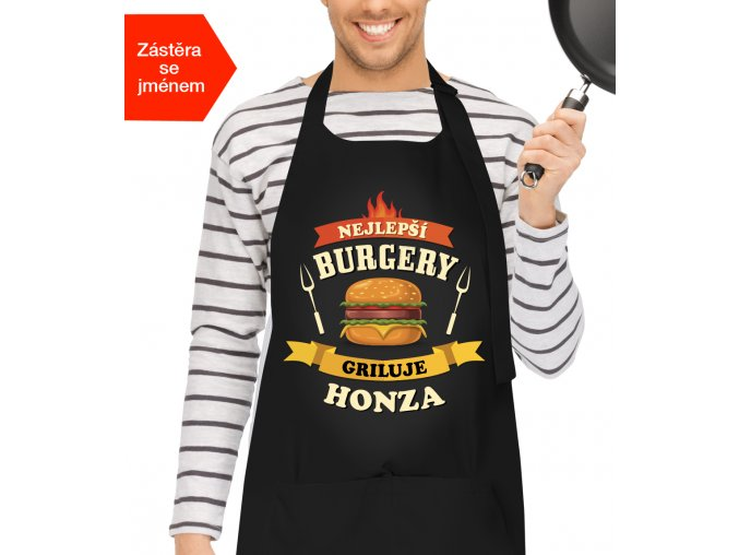 Grilovací zástěra se jménem - Nejlepší burgery griluje