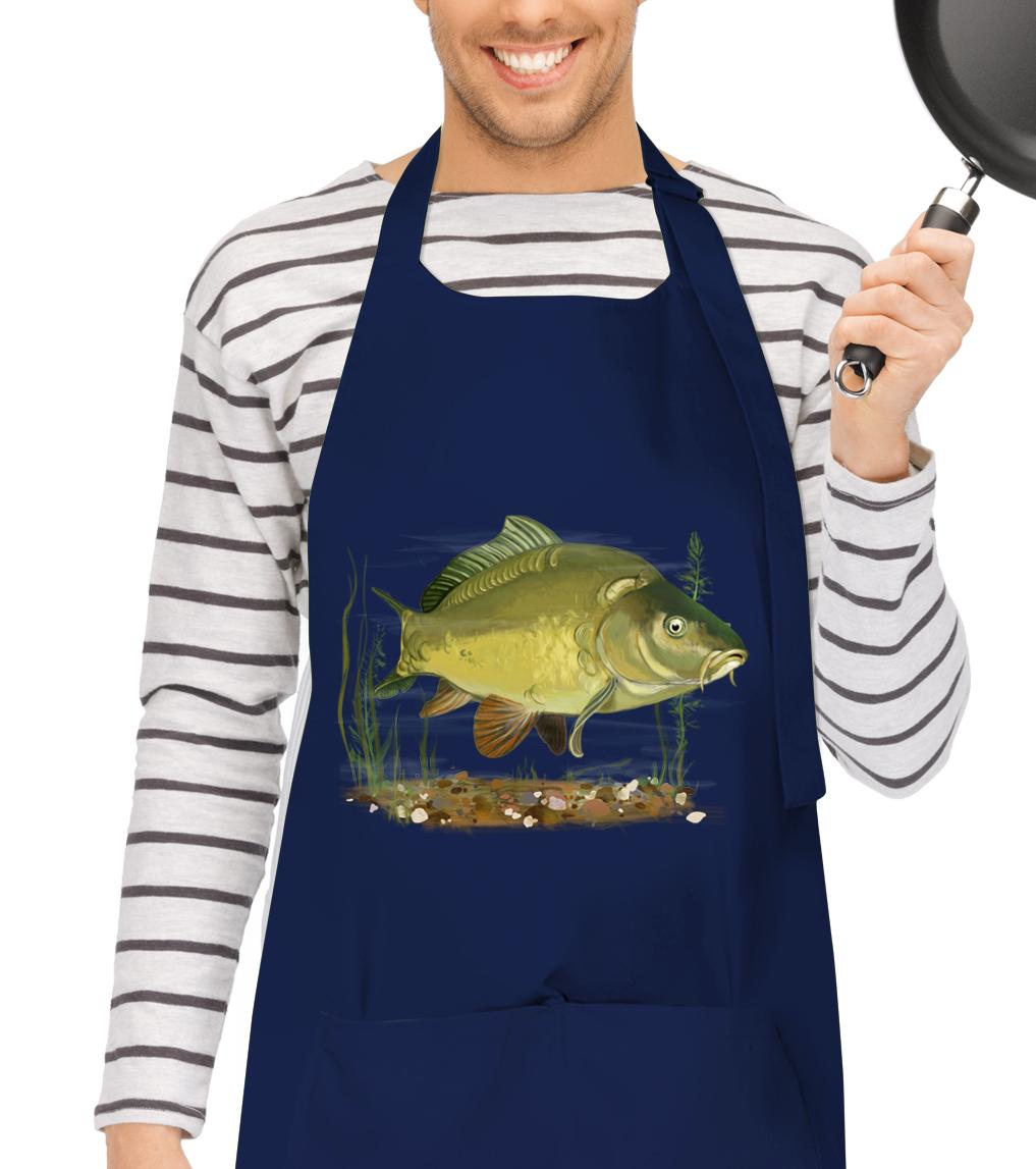 Kuchyňská zástěra pro rybáře - Kapr obecný Barva: Tmavě modrá (N