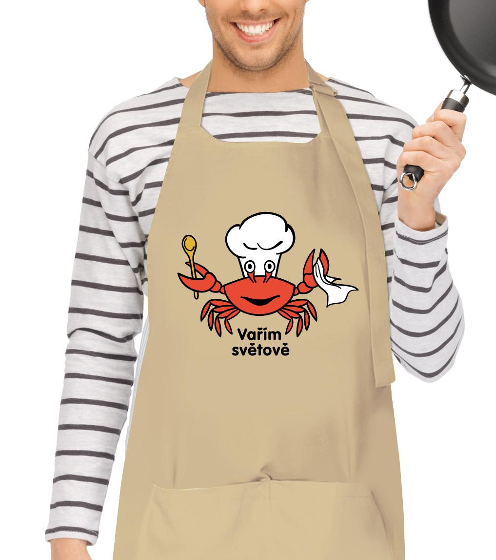 Kuchyňská zástěra pro muže - Vařím světově - Krab Barva: Béžová