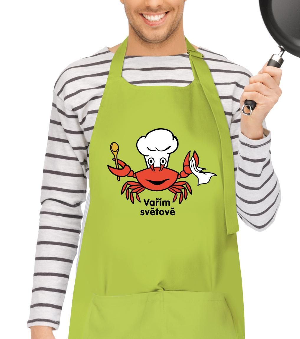 Kuchyňská zástěra pro muže - Vařím světově - Krab Barva: Limetko