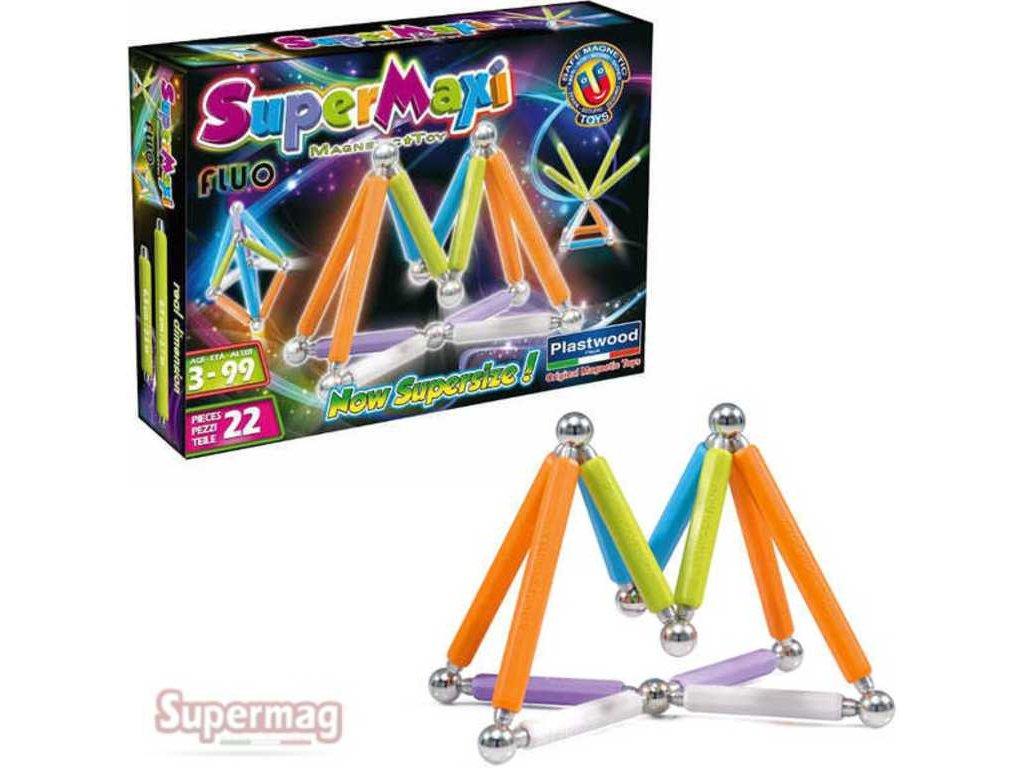 SUPERMAG Supermaxi Fluo zářivé barvy 22 dílků *MAGNETICKÁ STAVEBNICE*