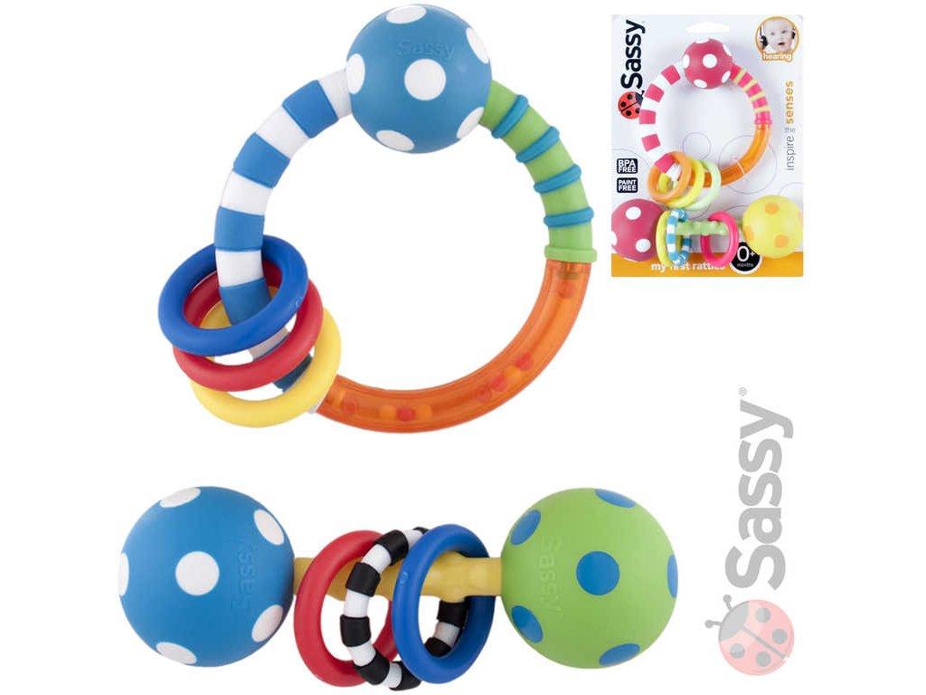 SASSY Baby set 2 chrastítka s kroužky 2 barvy pro miminko plast