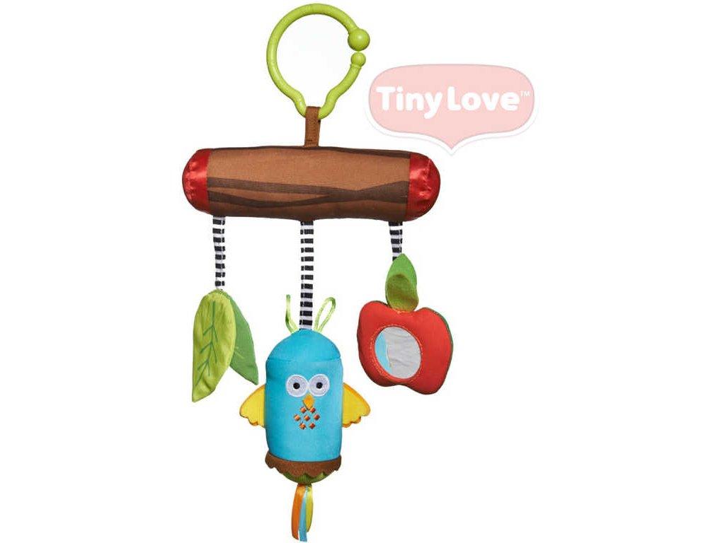 TINY LOVE Závěsná zvonící baby sovička plyšová s jablíčkem chrastítko