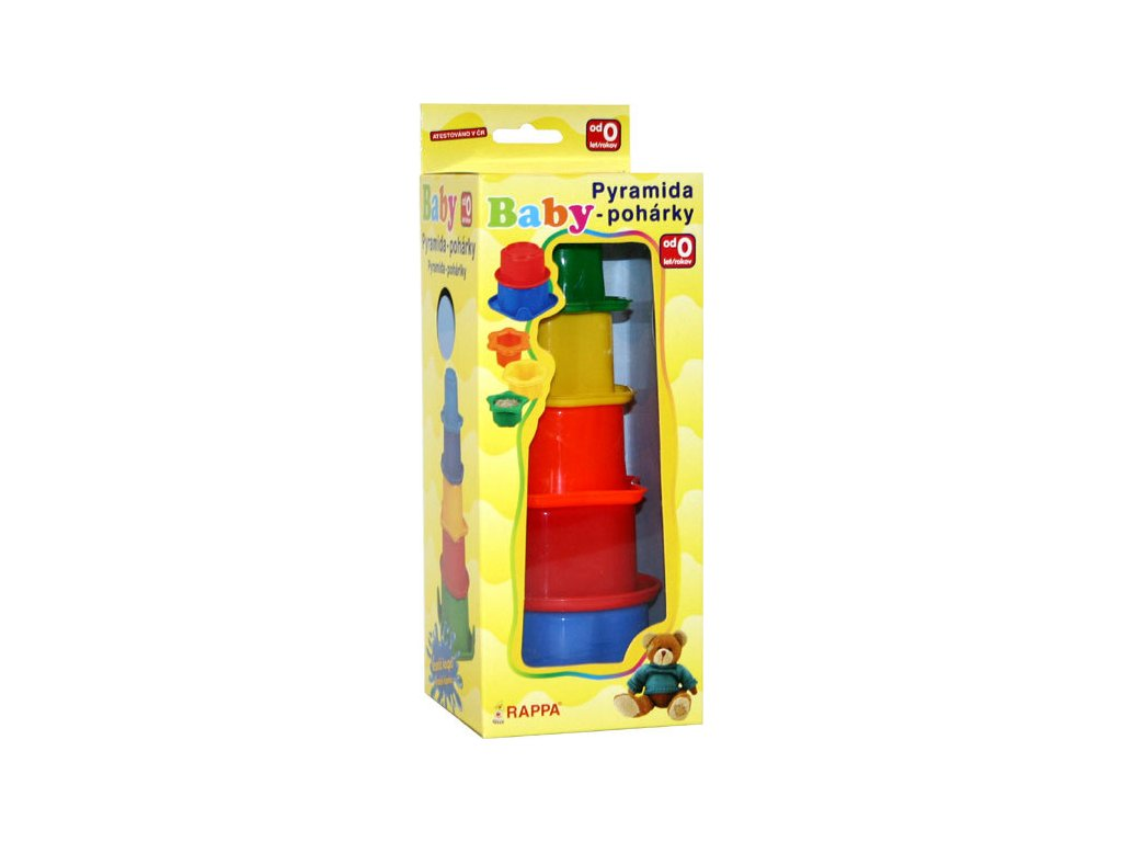 Baby vkládačka plastová pyramida set kalíšky v krabici