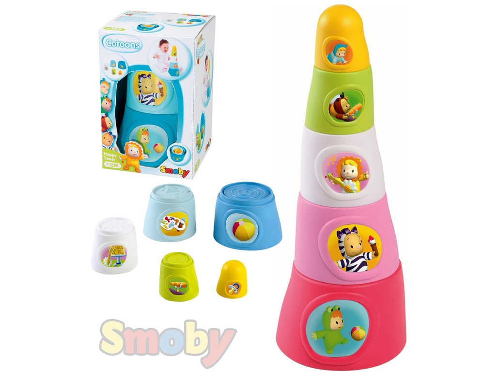 SMOBY Cotoons baby pyramida veselá set plastové kelímky 5ks 2 barvy STAVEBNICE