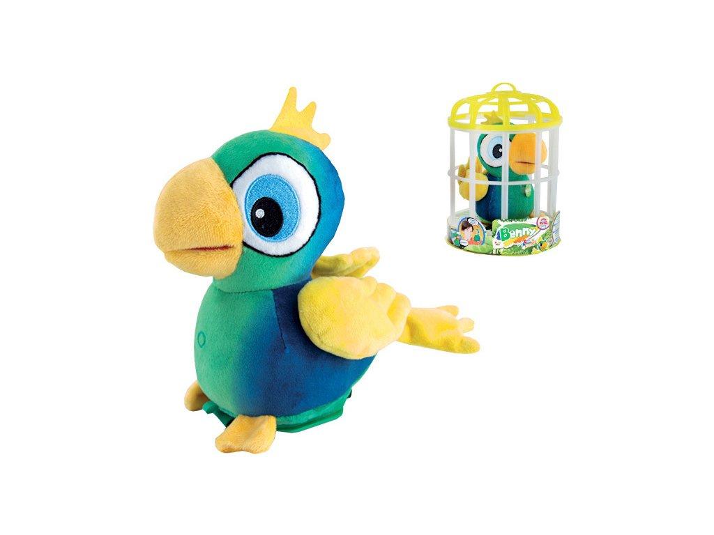 PLYŠ Benny papoušek plyšový 15cm na baterie opakující slova v kleci