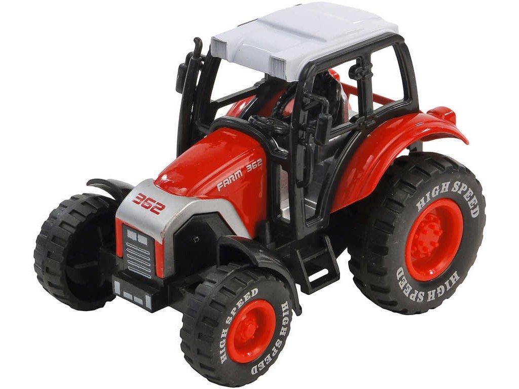 Traktor farmářský 8cm kovový v průhledné krabičce 4 barvy
