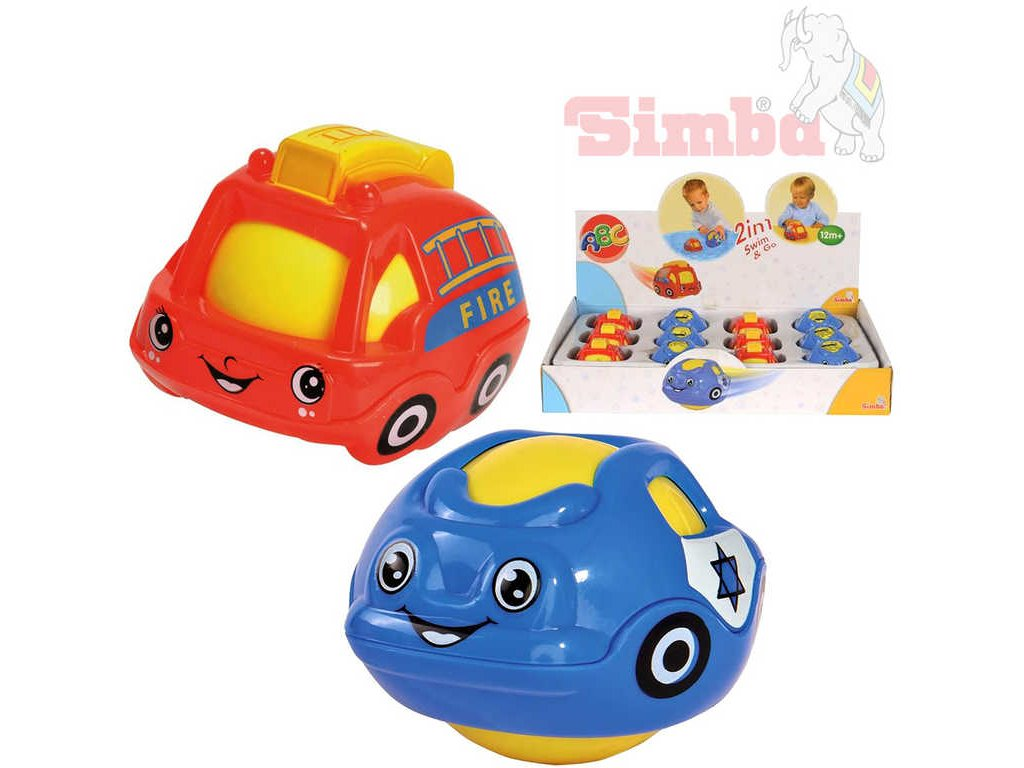 SIMBA Baby autíčko do vody na zem s balónkem 2v1 policie / hasiči 2 druhy plast